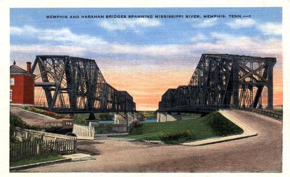 Memphis Bridge & Harahan Bridge, Memphis, Tennessee Carte postale de la collection privée de Jochem Hollestelle