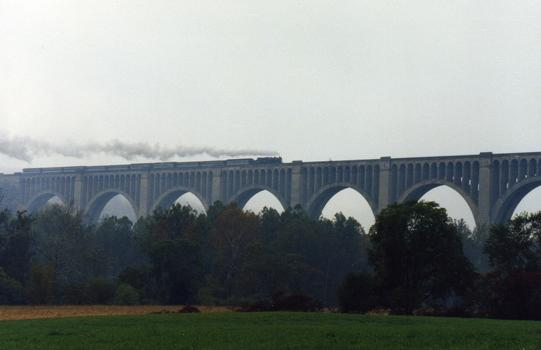 Tunkhannock Creek Viaduct With Canadian National 3254 and Train Nicholson, Pennsylvania USA