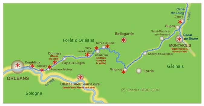 Carte du canal d'Orléans