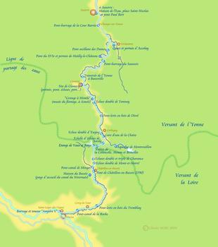 Carte du canal du Nivernais