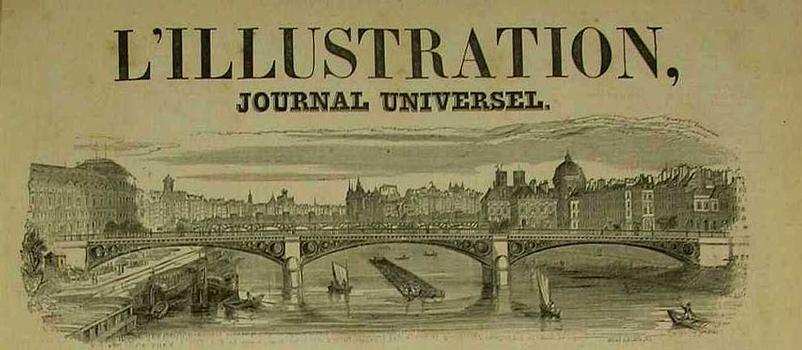 Pont du Carrousel on the title page of the magazine «L'Illustration» in 1847