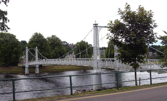 Infirmary Bridge, Inverness This entertaining pedestrian bridge bounces and sways alarmingly. During periods of heavy use (such as Guy Fawkes day) police constables are posted on opposite sides of the bridge to keep the number of people on the bridge to ten or less at any given time