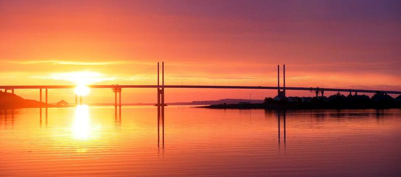 Kessock Bridge, InvernessThe sun rising behind the bridge