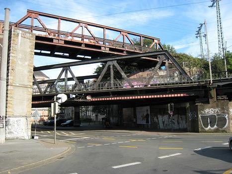 Railroad bridges across Oestermärsch at Dortmund