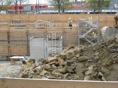 Baugrube des Fußballmuseums mit Berliner Verbau. Blickrichtung nach Norden. Am oberen Bildrand ist der westliche Teil des Hauptbahnhofes zu erkennen.
