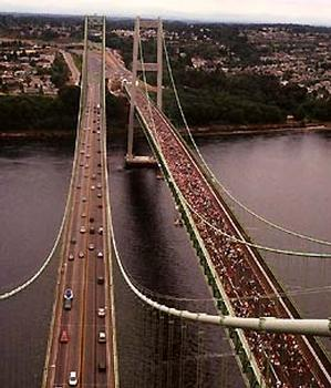 Tacoma Narrows Bridge shot from the tower of the 1950 Tacoma Narrows Bridge