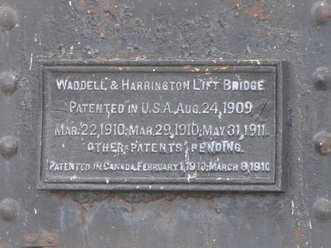 Waddell & Harrington Lift Bridge patent plaque