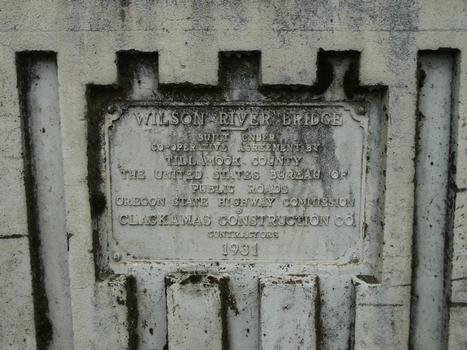 Wilson River Bridge Erinnerungstafel