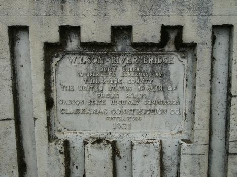 Wilson River Bridge plaque
