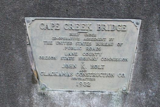 Cape Creek Bridge Plaque, Highway 101
