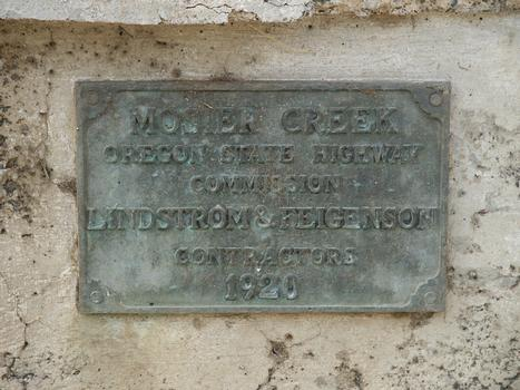 Mosier Creek Bridge plaque, 1920