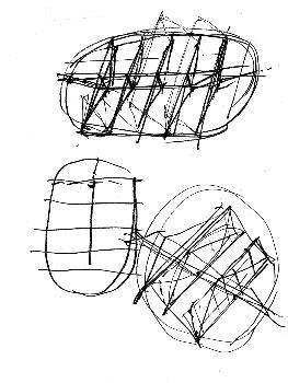Keum Jung Sports Park (Busan, 2002) Zeichnung von W. Zalewski zur Strukturentwicklung des Daches – Bildnutzung mit freundlicher Genehmigung von W. Zalewski