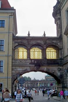 Bridge between Taschenbergpalais and castle at Dresden, Saxony