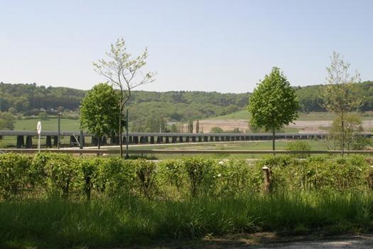 Viaduc de Lorentzweiler vue dans la vallée de l'Alzette d'en aval