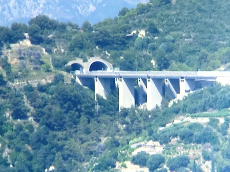 (from left to right) Mortola Tunnel eastern portal and Mortola Viaduct