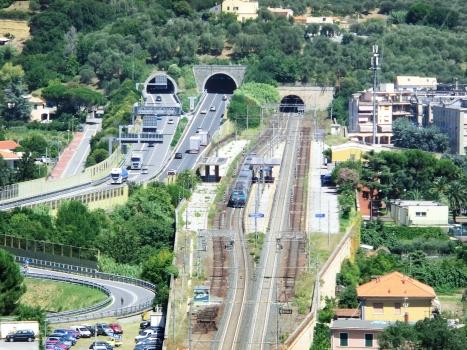form left, Siri Tunnel, Rossello M.G. Tunnel and Capo Tunnel western portals