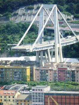 Viaduc de Polcevera après l'éffondrement partiel du 14 août 2018