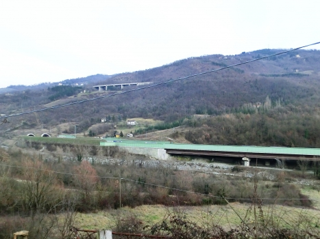 Lagaro Viaduct and, on the left, Grizzana Tunnel southern portals. Up, Le Rovine Viaduct