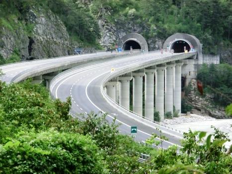 Cadramazzo Viaduct: Cadramazzo Viaduct and, in the back, Raccolana Tunnel northern portals