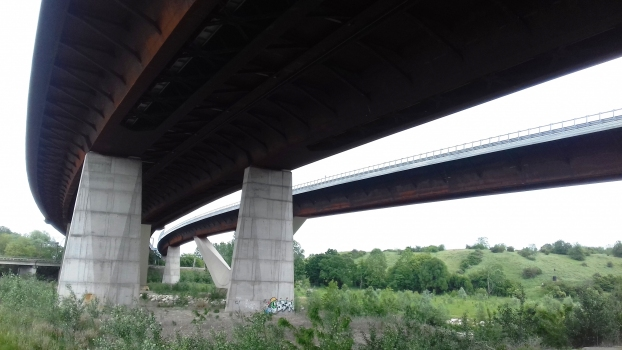 A58 Lambro Viaduct (on the left) and SP302 Lambro Viaduct