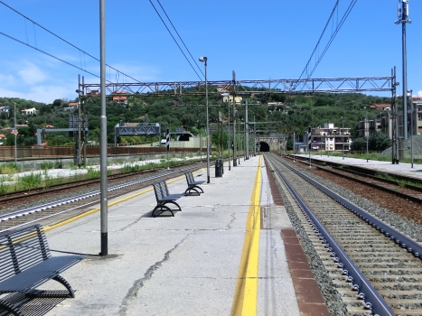 Albisola Station and, on the backyard, A10 M.G.Rossello (on the left) and Capo tunnels western portals