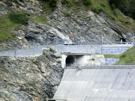 Luzzone III and, above, Luzzone II Tunnels eastern portals