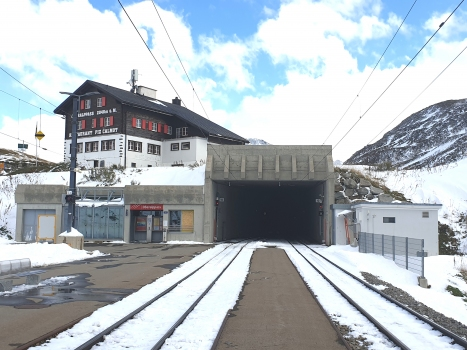 Oberalppass Station and Oberalppass Tunnel western portal