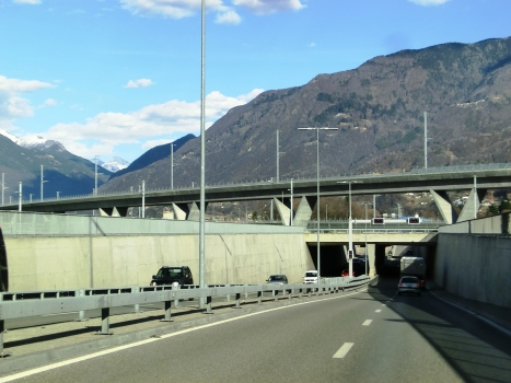 Campisci Tunnel western portal; above, Lugano-Bellinzona Rail Viaduct