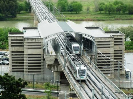 Sevilla Metro Line 1 Guadalquivir River Bridge and San Juan Bajo station