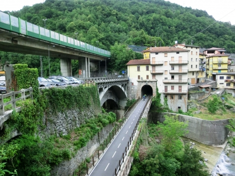 (from left to right) Sedrina Viaduct, Brembilla SP24 Bridge, Brembilla Tunnel southern portal and Brembilla Bridge