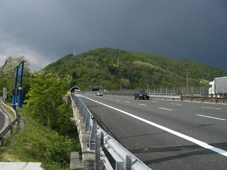 A26 motorway near Turchino service areas: Bric Ronco viaducts and Massimo Risso tunnels