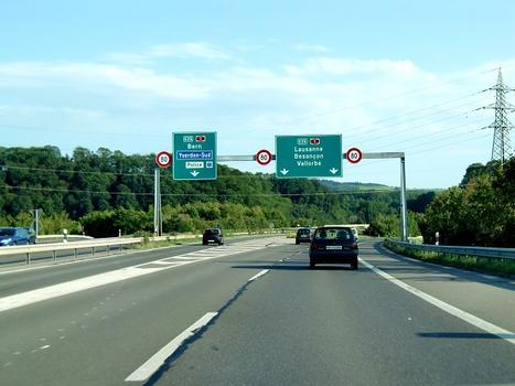 A5 motorway, connection with A1 near yverdon les Bains