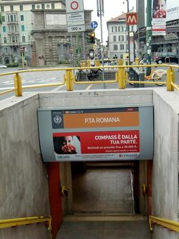Porta Romana Metro station, access. Porta Romana in the background