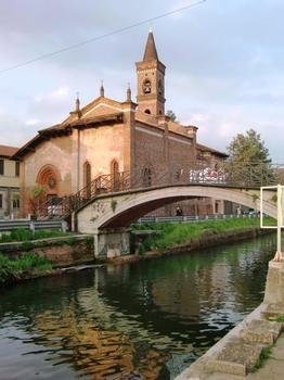 San Cristoforo al Naviglio Footbridge and San Cristoforo church
