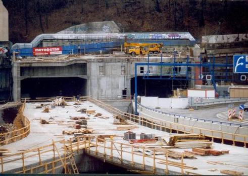 Mrázovka Tunnel northern portals under construction