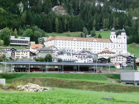 Disentis Station and, above, Imperial Abbey