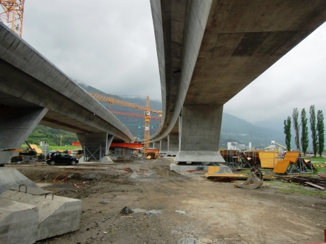 Monte Ceneri basis Tunnel northern access Viaducts under construction (Lugano-Bellinzona Viaduct on the right)