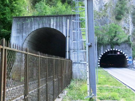 San Gregorio Tunnel (on the left) and Trentapassi Tunnel northern portals
