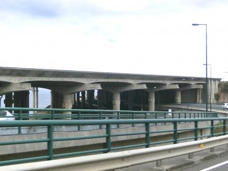 Madeira airport runway bridge from VR1 Seixo Viaduct