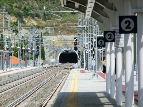Imperia Station and Gorleri railway tunnel western portal