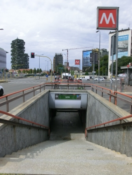Gioia Metro Station access and, on the left, Bosco Verticale