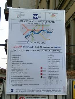 Sforza Policlinico-Crocetta Metro Station site panel