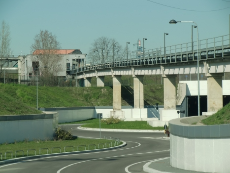 MeLA, Cascina Gobba Station and viaduct across Cascina Gobba tunnel northern portal roundabout