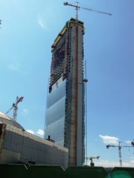 Isozaki tower under construction in 2014