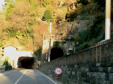 Tre Madonne Tunnel (on the left) and Biosio Tunnel southern portals