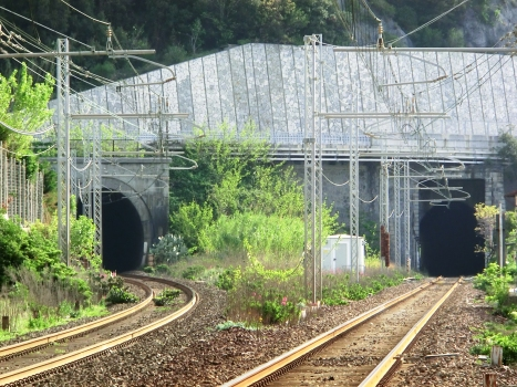 Lastroni North Tunnel (on the left) and Lastroni South Tunnel western portals