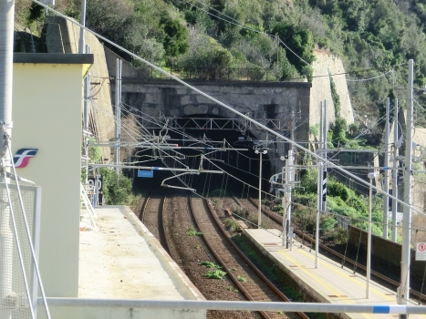 Riomaggiore-Fossola Montenero-Serra-Canneto Tunnel and Manarola Gubbiola Tunnel northern shared portal from Corniglia Station
