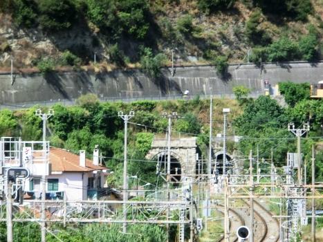 Ventimiglia South Tunnel (on the left) and Ventimiglia North Tunnel eastern portals