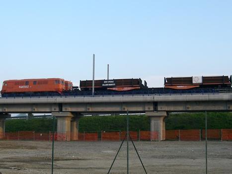 Testing phase of Rho viaduct, TAV line Torino-Milano