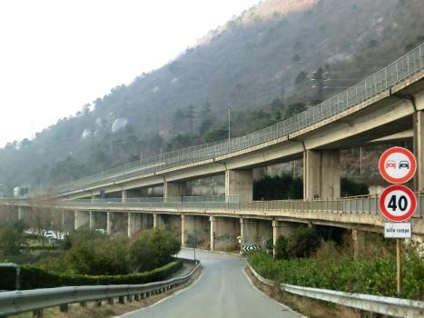 Pradello Viaduct and, above, Tecett Viaduct